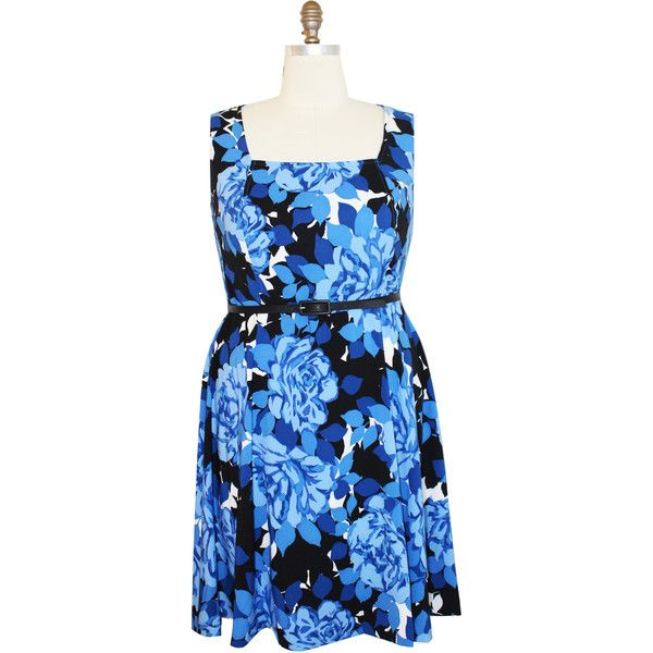 Maggy London London Times Curve Cluster Fit and Flare Dress (145 SAR) ❤ liked on Polyvore featuring plus size women's fashion, plus size clothing, plus size dresses, blue, plus size, maggy london dresses, blue fit-and-flare dresses, womens plus dresses and fit and flare dress