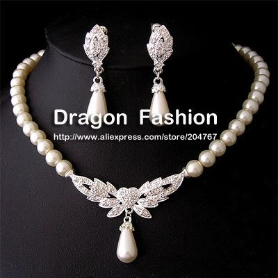 Cheap necklace earring set, Buy Quality necklace women directly from China necklace wholesale Suppliers: New Arrive Valentine's Day Gifts Brand Design Fashionable Clear White Crystal Wedding Drop Dangle Pearl Earrings Jewelry