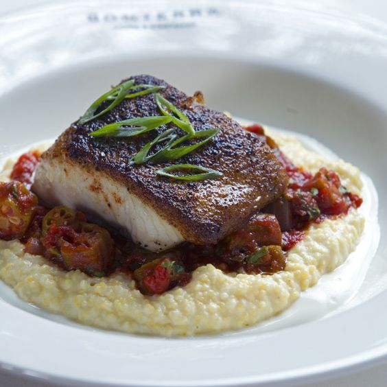Blackened Mahi-Mahi with Tomato and Okra Stew, Yellow Grits, and Buttermilk Sour Cream