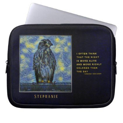 A Hawk Bird on a Roof on a Starry Night Laptop Sleeve - diy cyo customize create your own personalize
