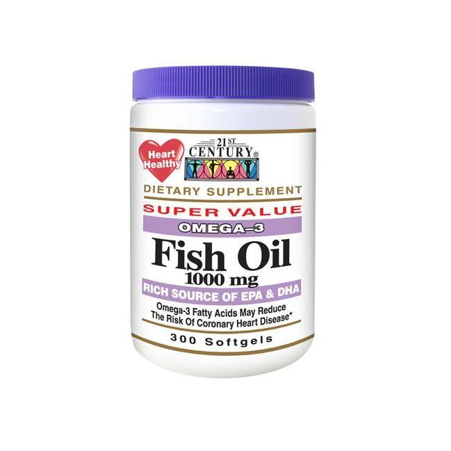 21st Century Fish Oil 1000 Mg 300 Soft Gels Essential Fatty