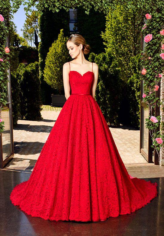 Daring Ruby Red Wedding Ball Gown | Moonlight Couture H1321 | http://trib.al/H8sj9VW