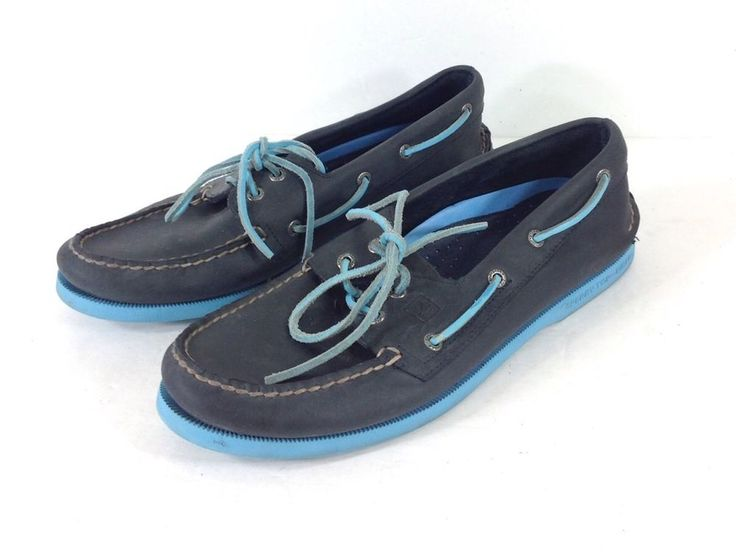 Sperry Top Sider Authentic Original Neon Blue Boat Shoes Leather Men Size 10 M  | eBay