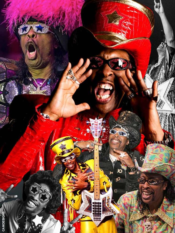 """William Earl """"Bootsy"""" Collins (born October 26, 1951 in Cincinnati, Ohio) is an American funk bassist, singer, & songwriter. Rising to prominence with James Brown in the early 1970s as a member of Brown's band the J.B.'s, and later with Parliament-Funkadelic, Bootsy Collins's driving bass guitar & humorous vocals established him as one of the leading names in funk. Bootsy Collins is a member of the Rock and Roll Hall of Fame, inducted in 1997 with fifteen other members of…"""