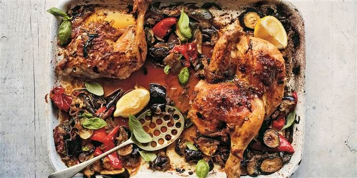 Melissa Clark Makes Ratatouille In The Oven And Adds Chicken Recipe Italian Fish Recipes Recipes Sheet Pan Meals Chicken