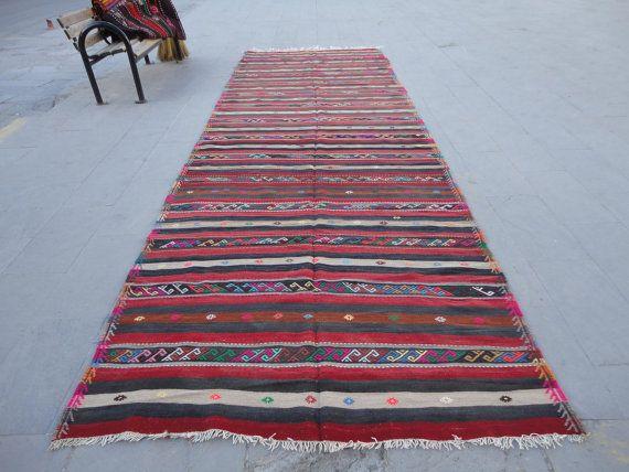 Turkse vintage extra lange rug-kilim trap tapijt, hal runner tapijt, 207 x 67…