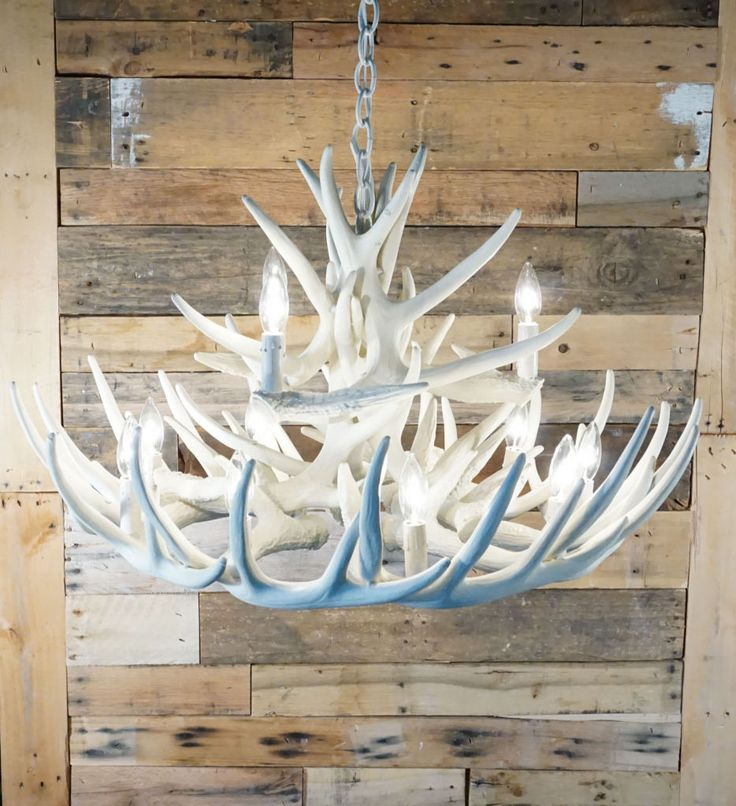 MASTER BEDROOM - Pure White Antler Lights | Bone/Ivory White Whitetail 15 Cast Cascade Antler Chandelier | Rustic Lighting and Decor from CastAntlers