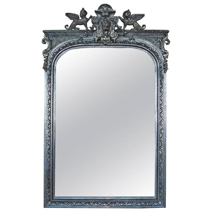 19th Century Large French Silver Gilded Mirror | See more antique and modern Mantel Mirrors and Fireplace Mirrors at https://www.1stdibs.com/furniture/mirrors/mantel-mirrors-fireplace-mirrors