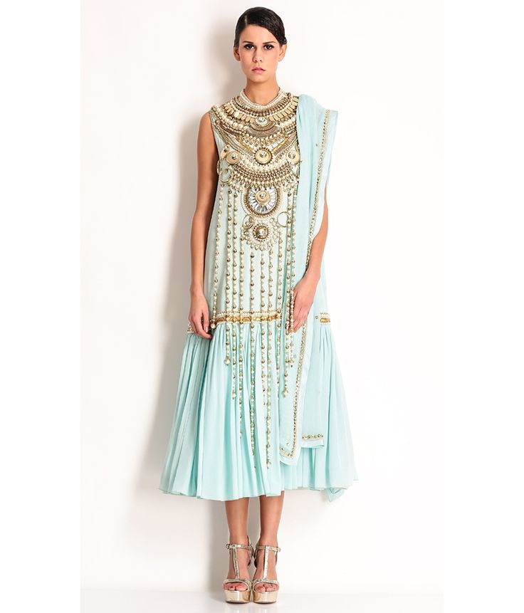 Manish Arora Pale Blue Silk Gold Bead And Sequin Embroidered Jewellery Anarkali, http://www.snapdeal.com/product/manish-arora-pale-blue-silk/1070200955