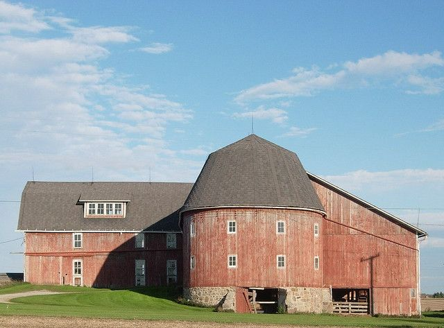 .nice barn with round silo