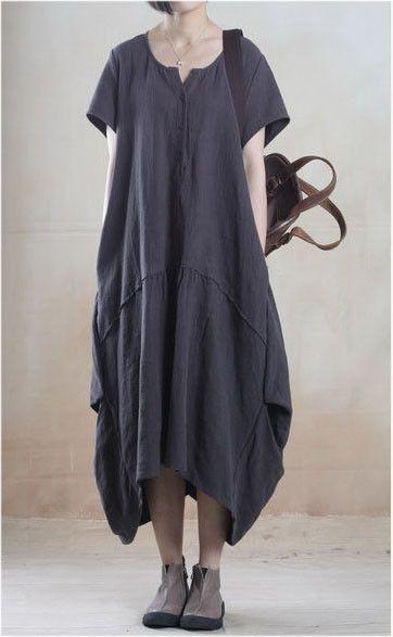 Linen Dress in Dark Gray – Lily & Co.