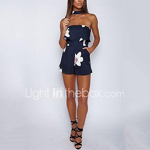 Feminino Simples Fofo Sensual Cintura Alta Informal Casual Férias Macacão,Skinny Floral Verão de 2017 por R$32.85