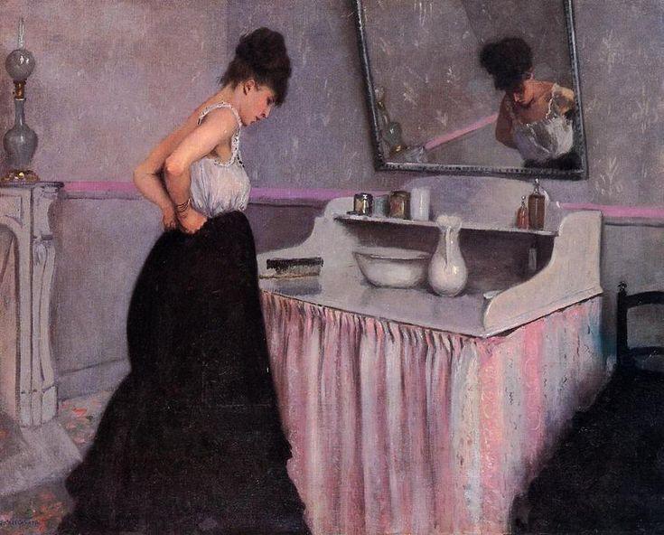 Femme à la coiffeuse, huile sur toile de Gustave Caillebotte (1848-1894, France)