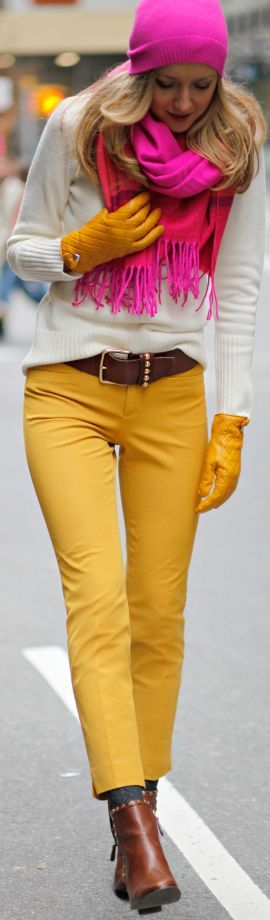 #Winter #Brights by The Classy Cubicle----would do dark wash jeans instead. Love everything else.
