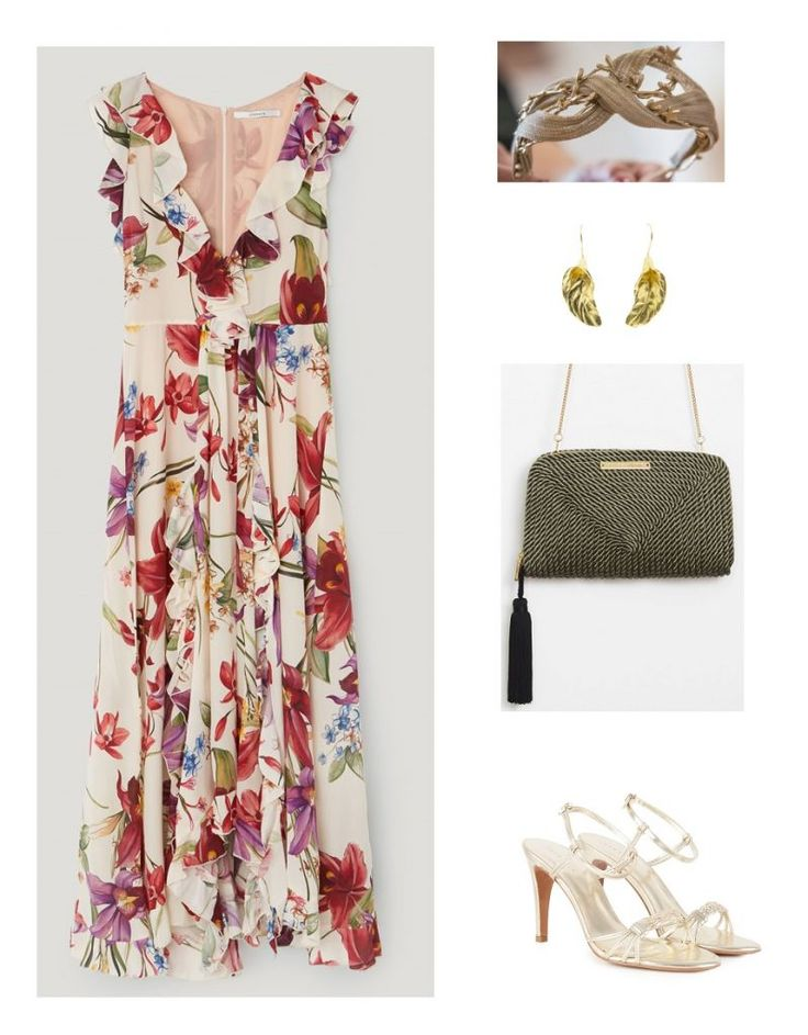 Time for Fashion » Uterqüe Wedding Guest Style. White floral ruffle midi dress+golden ankle strap heeled sandals+olive green tassel clutch+gold earrings+headdress. Summer Evening Cocktail or Wedding Guest Outfit 2017