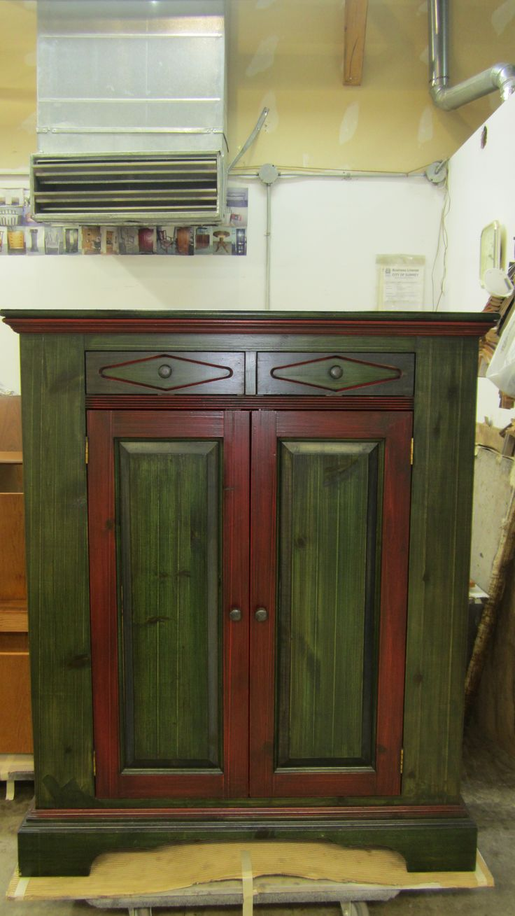 Pine cabinet to be refinished by AM Furniture Finishing to an elegant distressed glazed look.