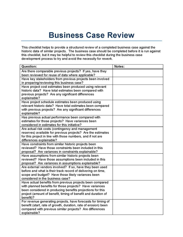 Business case review template, from a perspective of historically - business review template