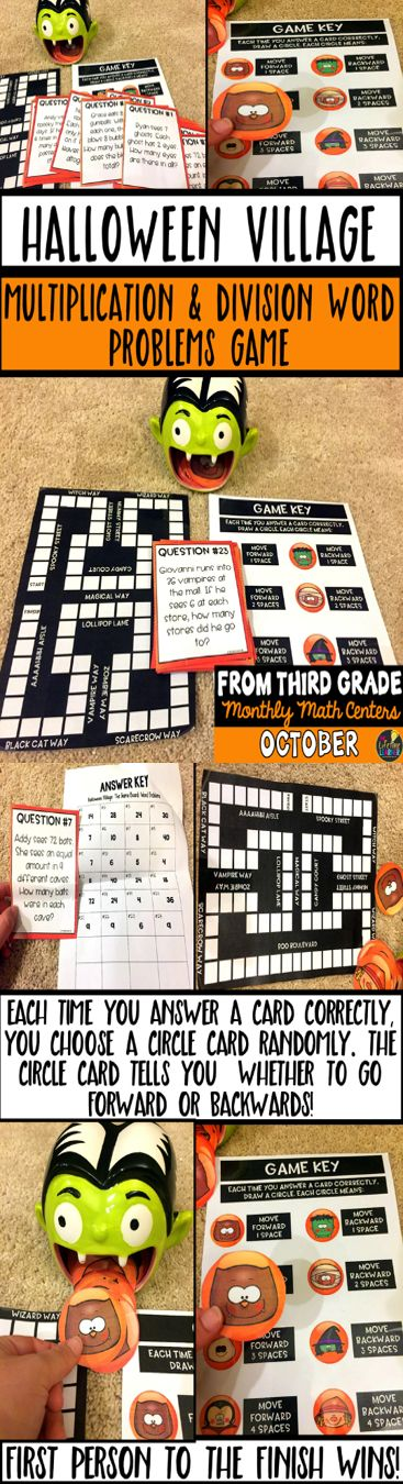 """This Halloween math game is perfect practice for kids who need extra practice with multiplication and division word problems. Students lay out the game board and put an object of their choice on the start. They answer a question card. If they get it correct, they get to randomly pull out a circle Halloween card. Based on what they draw out, the """"game answer key"""" tells them if they get to go forward or backwards. Each Halloween themed circle represents a number of spaces they can go forwards…"""