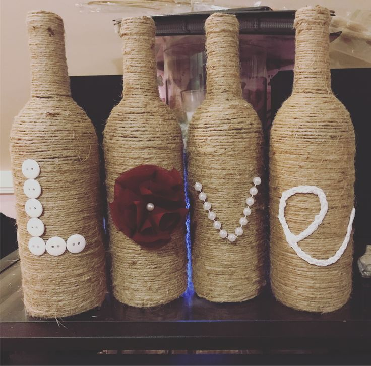 Wine bottles. Twine wrapped. Love. Home decor. Decor. Home decorations