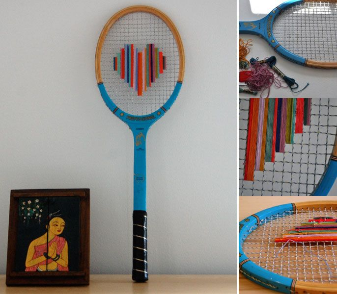 A use for discarded tennis and bat mitten rackets. Pretty darn Cute!