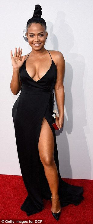 Can't go wrong with black! Recording artists Meghan Trainor,Christina Milian and Rebecca B...