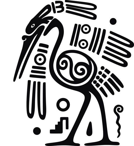 этнические, национальные узоры, рисунки Майя, птицы, рисунок в векторе, svg, eps
