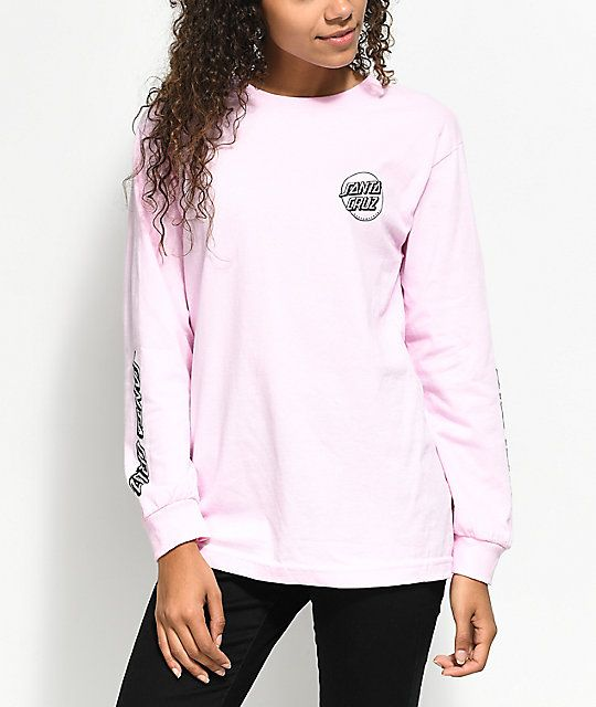 75048c9de97 Santa Cruz Screaming Party Hand Light Pink Long Sleeve T-Shirt in ...