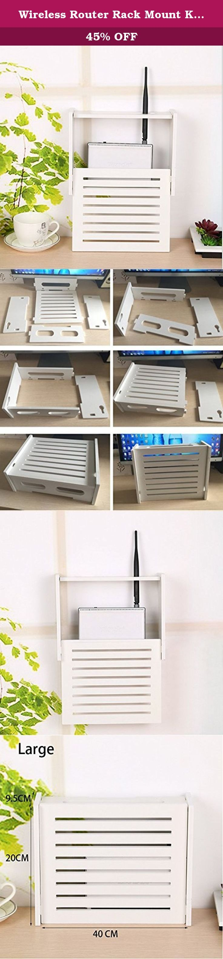 Wireless Router Rack Mount Kit Set Top Box Holder Wooden Wall Shelf Gateway Storage Box Free of Punch (Large). ♪ Router &STB Storage Box on desk, storeroom, kitchen, bedroom, laundry room, garden, fashion and brief. ♪ Size: 15.75(L)*3.74(W)*7.87(H) inch or 40*9.5*20CM.