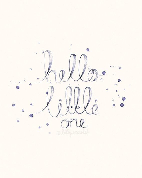 "Baby Girl Nursery Decor - 8x10 / A4 Shabby Chic ""Hello Little One"" Art Print, Neutral Nursery Decor With Handwritten Typography"
