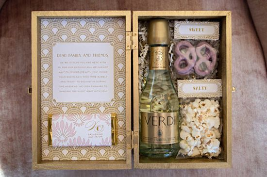 Wedding welcome kit with snacks and mini Verdi champagne. Photography by Carla Ten Eyck / carlateneyck.com, Event Design by Jubilee Events / eventjubilee.com, Floral Design by Hana Floral Design / hanafloraldesign.com, Fashion by The White Dress by the shore /