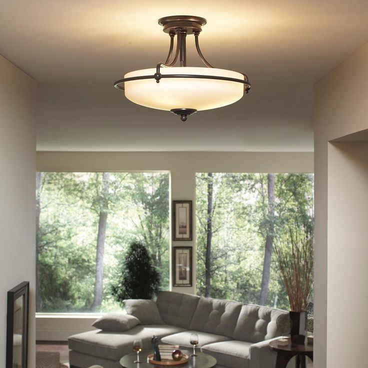 Love The Soothing Glow This Griffin Semi Flush Provides No Wonder It S A Best Sel Ceiling Lights Living Room Dining Room Ceiling Lights Craftsman Living Rooms #no #ceiling #lights #in #living #room