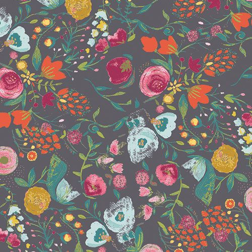 Emmy Grace VOILE by Bari J for Art Gallery Fabrics - Budquette Nightfall - 1/2 Yard - 100% Cotton Voile