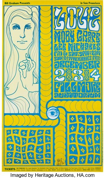 Love Fillmore Auditorium Concert Poster BG-40 Signed By Wes Wilson(Bill Graham, 1966)