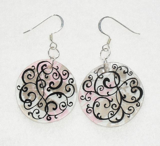 Swirling Flowers Shrink Plastic Earrings | Flickr - Photo Sharing!