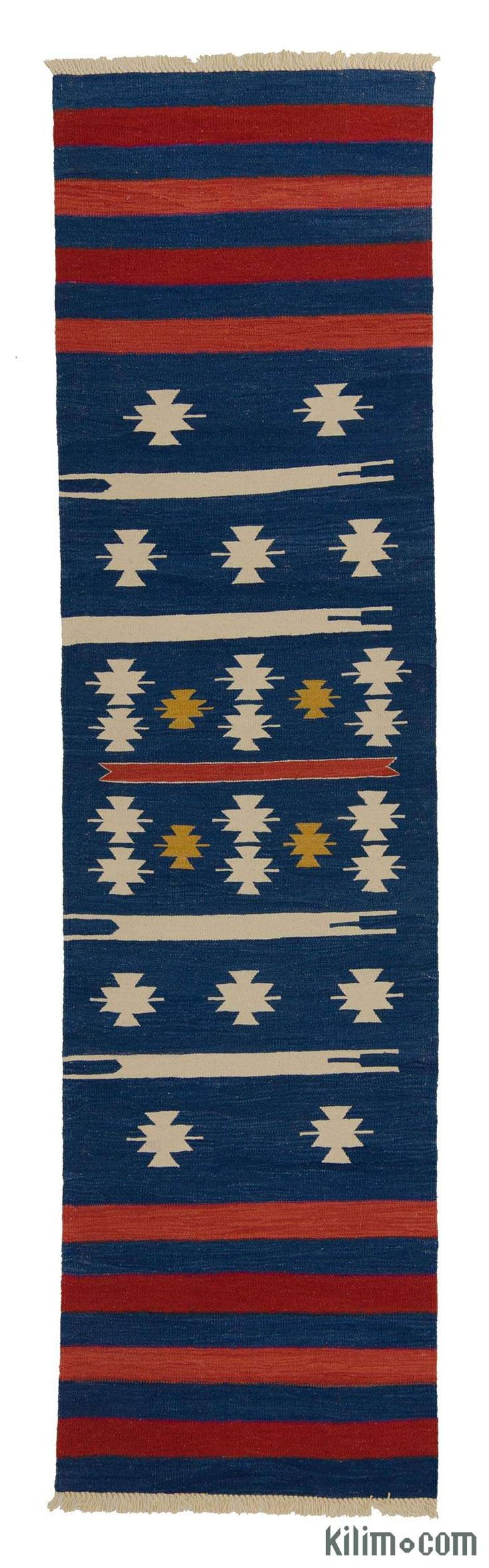 New Turkish kilim runner rug hand-woven with vegetable-dyed and hand-spun wool.