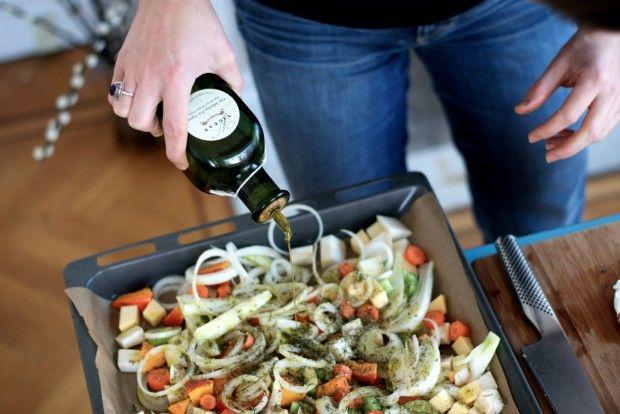 soep met geroosterde groenten en salie