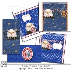 Free Hershey - Candy Wrappers or Covers - Eagle Scout Theme - Designed to fit 1.55oz Hershey Bars and Hershey Miniature Bars. Perfect for Do It Yourself Eagle Scout Recognition, Gift Basket Idea for your Eagle Scout, Court of Honor, BSA, Boy Scouts of America - designed by Gina Jane Designs - DAISIE Company