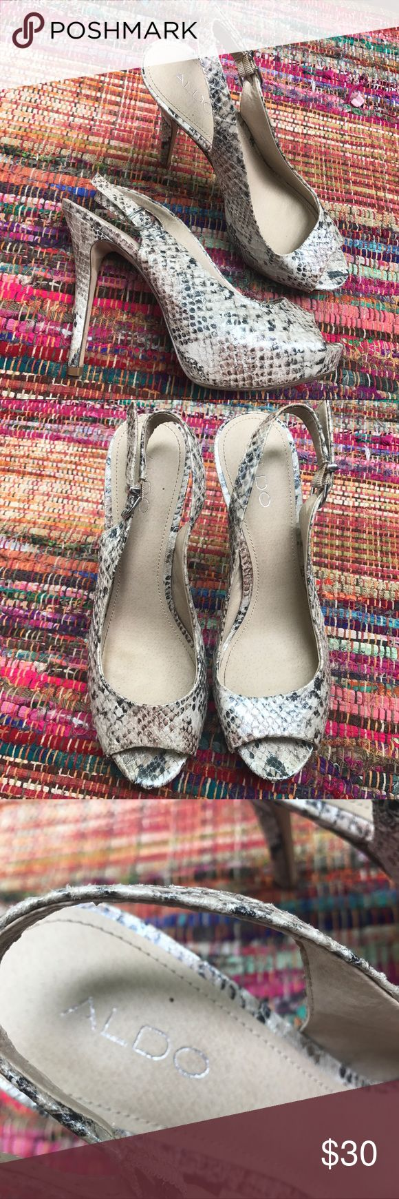 PRICE CUT ✂️ ALDO Snakeskin heels Shiny silver reflective material in some spots  Rack Aldo Shoes Heels