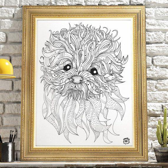 Bolognese Dog A4 A5 illustration print art dog print dog by mmuffn