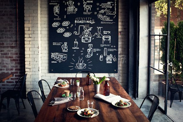 Chalkboard on brick: Dining Rooms, Fun Recipes, Memorial Shops, Chalk Boards, Chalkboards Art, Wood Tables, Expo Brick, Restaurant, Chalkboards Wall