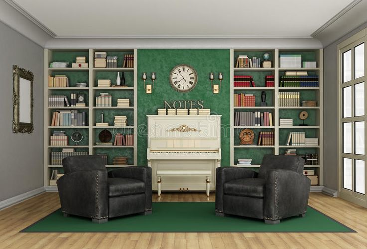 Estante Para Libros De Lujo De La Sala De Estar Y Piano Vertical Stock de ilustración - Imagen: 63799736