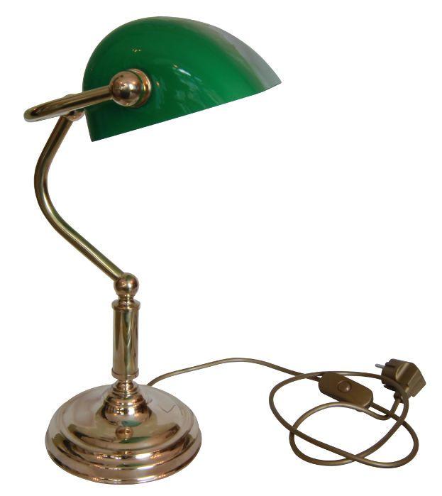 Bankirlampa - klassisk skrivbordslampa i mässing med grön glasskärm. Välkommen till Sekelskifte och våra mässingslampor!