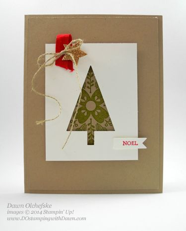 SU! Cheerful Christmas and Bright & Beautiful stamp sets; Crumb Cake and Whisper White cardstock; Champagne Glimmer paper; Real Red and Old Olive  ink; Bitty Banner and Circle Card Framelits - Dawn Olchefske