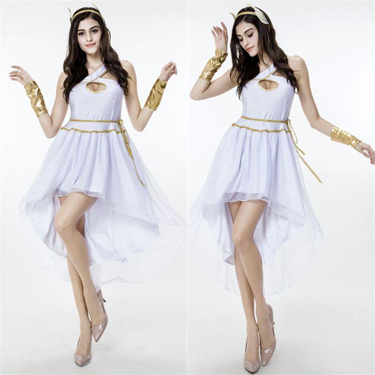 Women's Sexy White Greek Goddess Irregular Elegant Dress Halloween Costumes Queen Stage Role Cosplay Dress