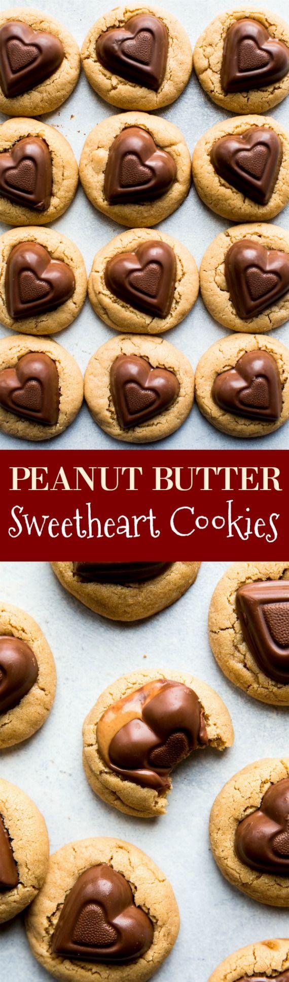 Soft peanut butter cookies with Valentine's Day heart candies! Recipe on sallysbakingaddiction.com