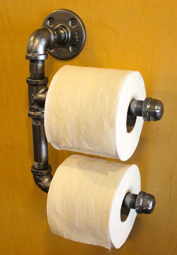 """Industrial Double Toilet Paper Holder - Dark Steel - Plumbing Pipe - 1/2"""""""