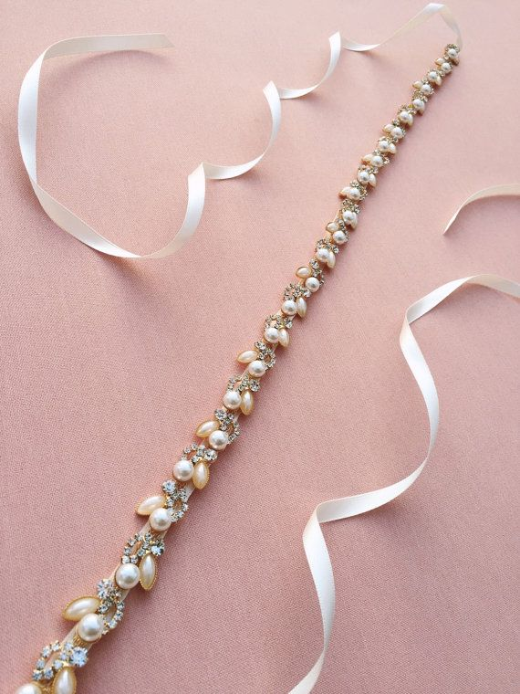 Pearl wedding belt in antique white, made in Canada
