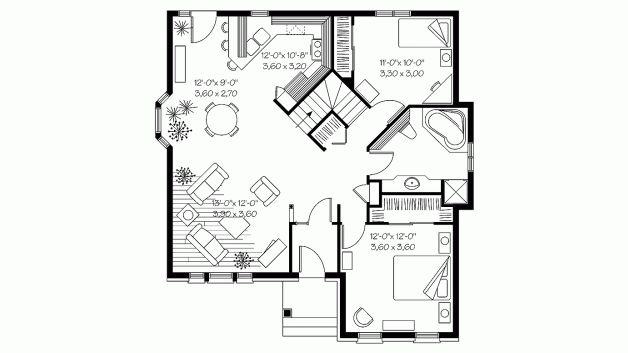 European Style House Plan 4 Beds 2 Baths 2022 Sq Ft Plan 23 2501 Small House Plans Tiny House Floor Plans Tiny House Plans Small guest house floor plan