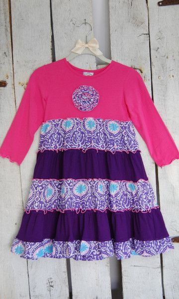 Pink and Purple Long Sleeve Toddler Dress