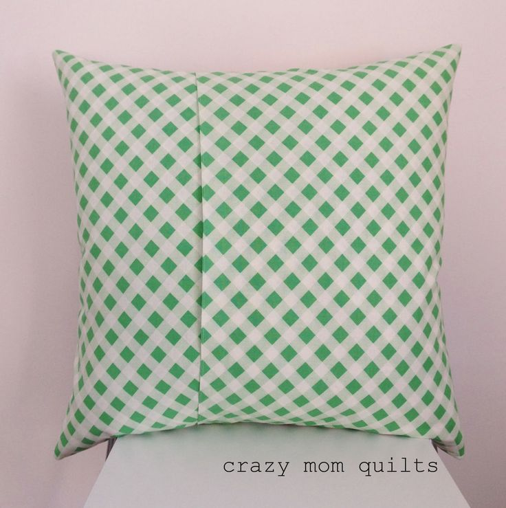 crazy mom quilts: how to make an envelope backed pillow. Double-layered fabric for pillow back gives a more professional finish.